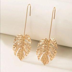 Gold Monstera Leaf Drop Earrings